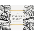 italian bakery banner with hand drawn desserts vector image