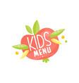 kids menu logo healthy organic food banner or vector image vector image