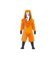 man in orange protective suit helmet and mask vector image vector image