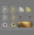 metal silver and gold banners gears vector image
