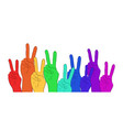 multi colored rainbow hands showing peace vector image vector image