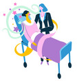 nurse caring for sick patient laying on bed vector image vector image