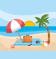 palm tree with umbrella and briefcase with camera vector image vector image
