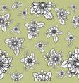 pattern with groups of doodle flowers and leaves vector image vector image