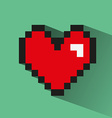 Pixelated heart on green backdrop vector image