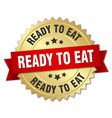 ready to eat round isolated gold badge vector image vector image