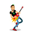rock musician playing on electrical guitar cartoon vector image