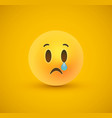 sad yellow emoticon crying face in 3d background vector image