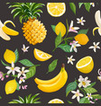 seamless fruit pattern lemon banana pineapple vector image vector image