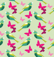Seamless pattern with butterfly and birds vector image vector image