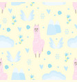 seamless pattern with llama and blue flowers mount vector image