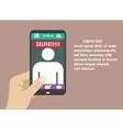 Selfie flat design with hand and vector image