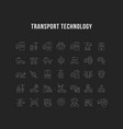 set line icons transport technology vector image