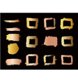 set of golden style brush strokes design element vector image