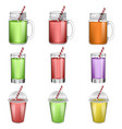 smoothie fruit juice icons set realistic style vector image