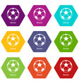 soccer ball icons set 9 vector image vector image