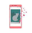 social media love cat post vector image vector image