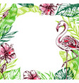 summer tropical background with flamingo vector image vector image