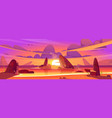sunset in ocean pink clouds in sky above sea vector image vector image