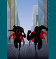 superhero couple running in city silhouette vector image vector image