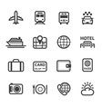 Vacation and Travel Icons vector image vector image
