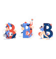 various sport activities with capital letter b vector image