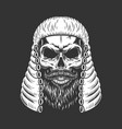 vintage monochrome skull in judge wig vector image