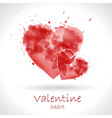 Watercolor painted red heart vector image vector image