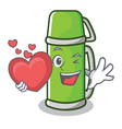 with heart thermos character cartoon style vector image