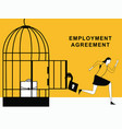 woman running from employment agreement vector image