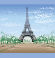 colorful landscape with eiffel tower vector image