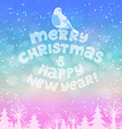 Christmas card with lettering winter landscape and vector image