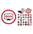 2016 Display Flat Icon with Bonus vector image vector image