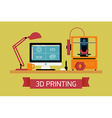 3D Printing Flat Design vector image vector image