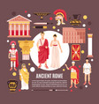 ancient rome flat composition poster