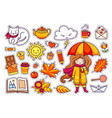 autumn set hand drawn elements vector image