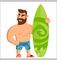 bearded man surfer strong man with beard and vector image