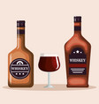 best whiskey bottles and cups vector image vector image