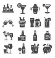 beverage bold alcohol icons set vector image vector image