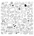big set of hand drawn doodle cartoon objects and vector image