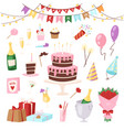 birthday kids party cartoon child happy vector image