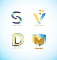 Blue yellow letter logo set vector image