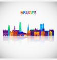 bruges skyline silhouette in colorful geometric vector image vector image