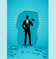 businessman breaking the wall with hammer vector image vector image