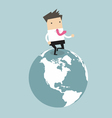 Businessman running on the globe vector image