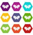 butterfly icons set 9 vector image