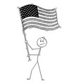 cartoon man waving flag united states vector image
