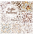 Coffee beans cups mills seamless patterns vector image vector image