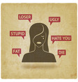 cyberbullying concept upset girl victim of online vector image vector image