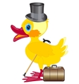Duckling with cylinder on head and valise vector image vector image